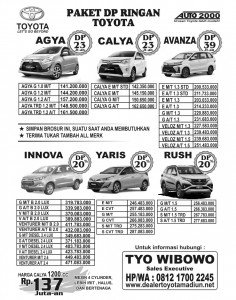 Update Harga Toyota Madiun Promo Dp Ringan Segera Hub : Tyo 081217002245